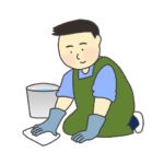 雑巾がけをする男性のイラスト