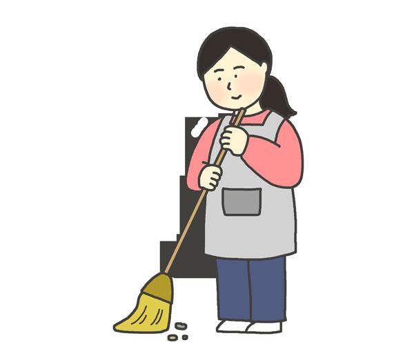 掃き掃除をしている女性のイラスト