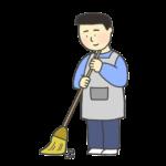 掃き掃除のイラスト(男性)