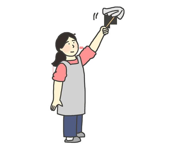 はたき掃除のイラスト(女性)