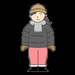 防寒着を着ている女性のイラスト
