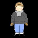 防寒着を着る男性のイラスト