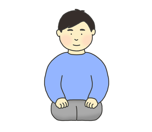 正座をする男性のイラスト