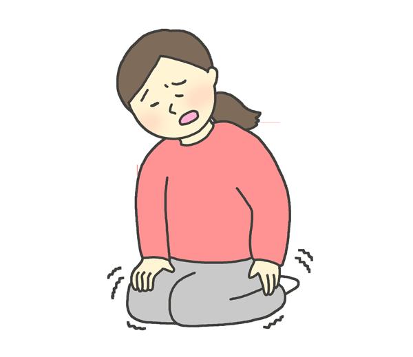 足がしびれた女性のイラスト