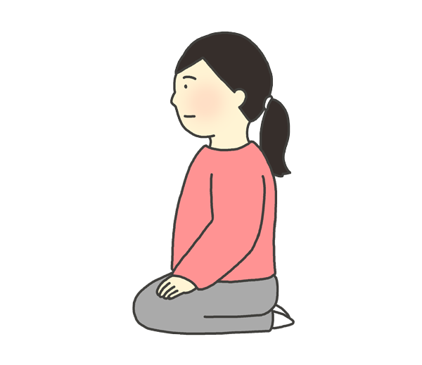正座をしている女性のイラスト(横から)