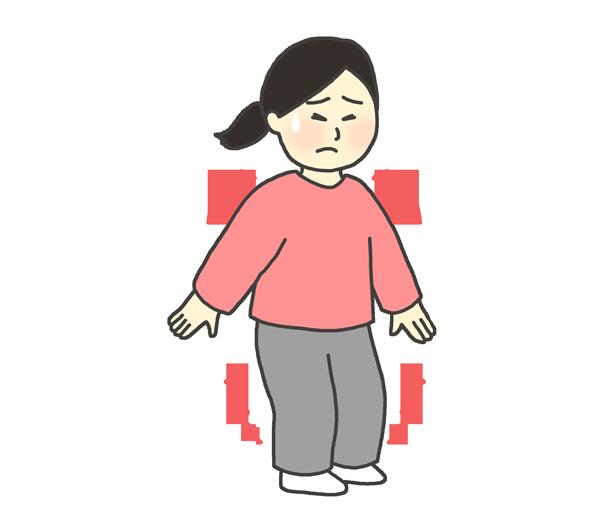筋肉痛のイラスト(女性)