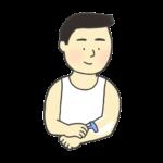 ムダ毛を剃る男性のイラスト