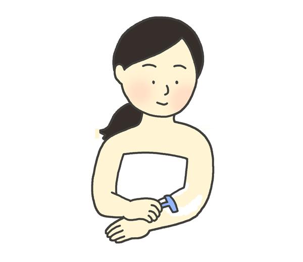 ムダ毛処理をする女性のイラスト