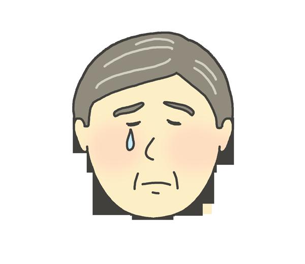 悲しんでいるおじさんのイラスト