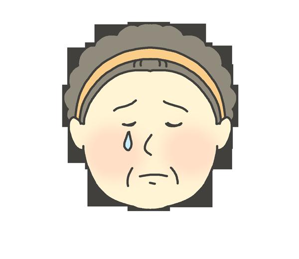悲しんでいるおばさんのイラスト