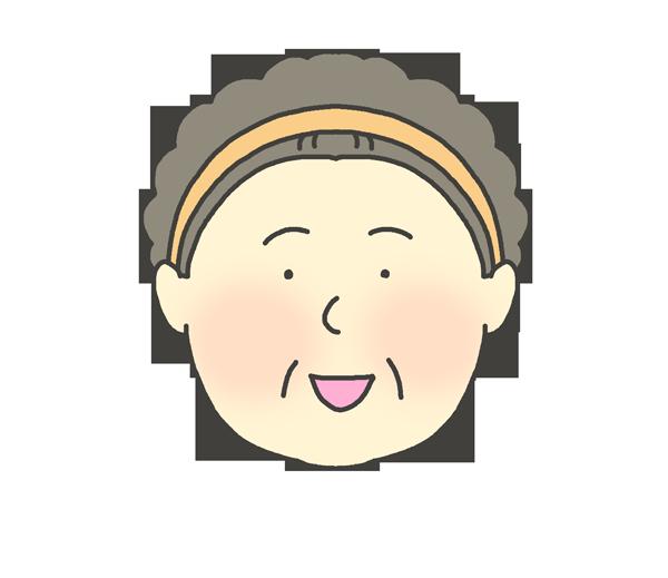 楽しい表情のおばさんのイラスト