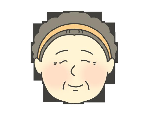 幸せ・穏やかな表情のおばさんのイラスト