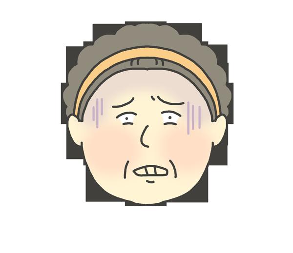 恐怖の表情をしているおばさんのイラスト
