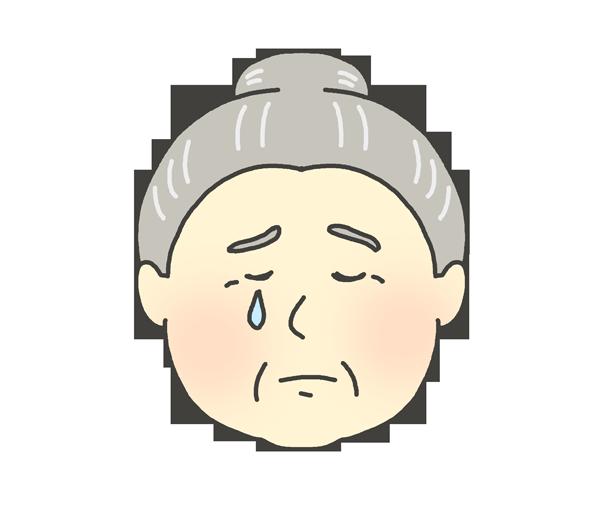 悲しんでいるおばあさんのイラスト