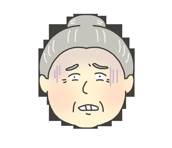 恐怖の表情をしているおばあさんのイラスト