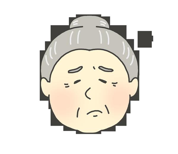 嫌気、不満げな表情をしているおばあさんのイラスト