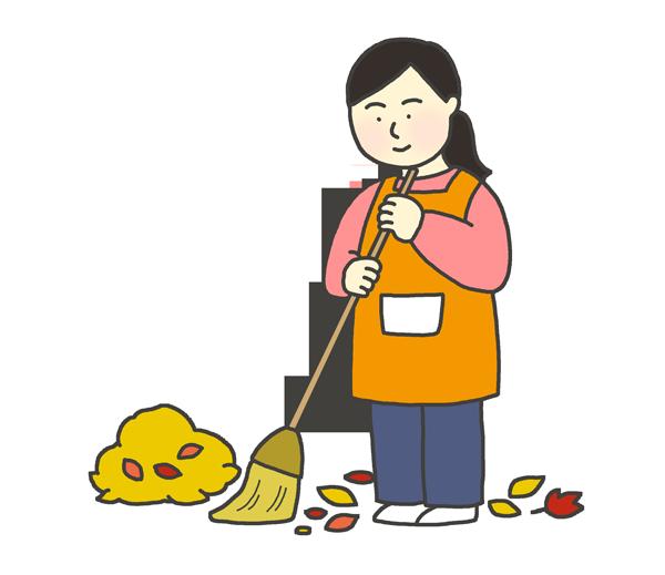 落ち葉掃除をする女性のイラスト