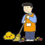 落ち葉掃除のイラスト(男性)