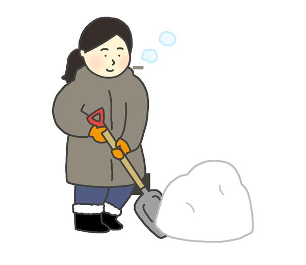 雪かきをする女性のイラスト