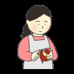 りんごの皮むきのイラスト(女性)