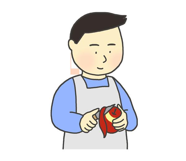 りんごの皮むきのイラスト(男性)