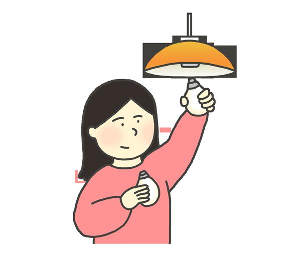 電球交換のイラスト(女性)