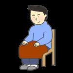 ひざかけをかけている男性のイラスト