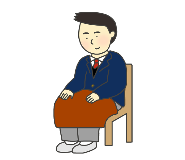ひざ掛けをかけている男子生徒のイラスト