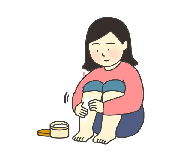 保湿クリームを塗っている女性のイラスト