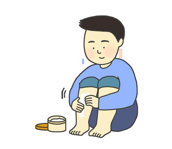 保湿クリームを塗っている男性のイラスト