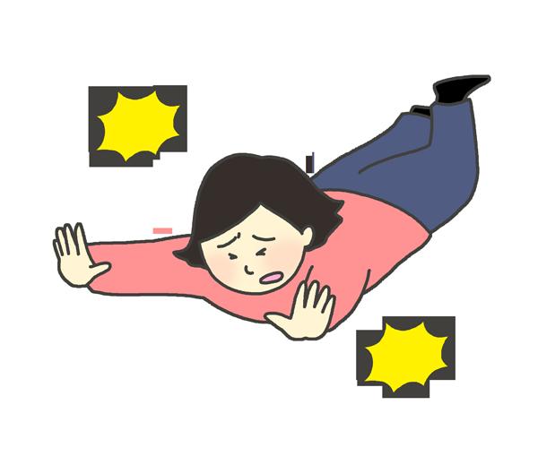 転ぶ女性のイラスト