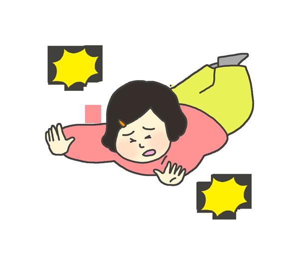 転んでいる女の子のイラスト