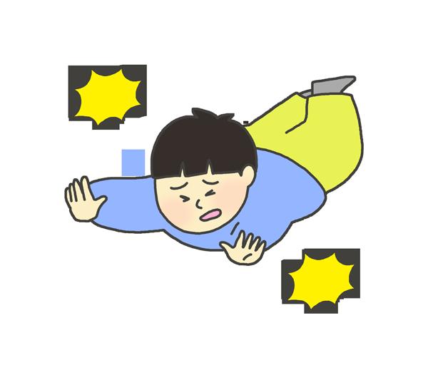 転んでいる男の子のイラスト