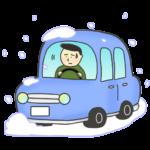 雪の中で立ち往生する車のイラスト