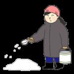 融雪剤をまいている女性のイラスト