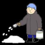 融雪剤をまく男性のイラスト