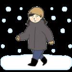 雪の中を歩く女性のイラスト