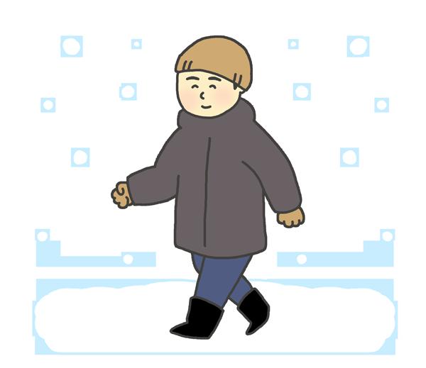 雪の中を歩く男性のイラスト