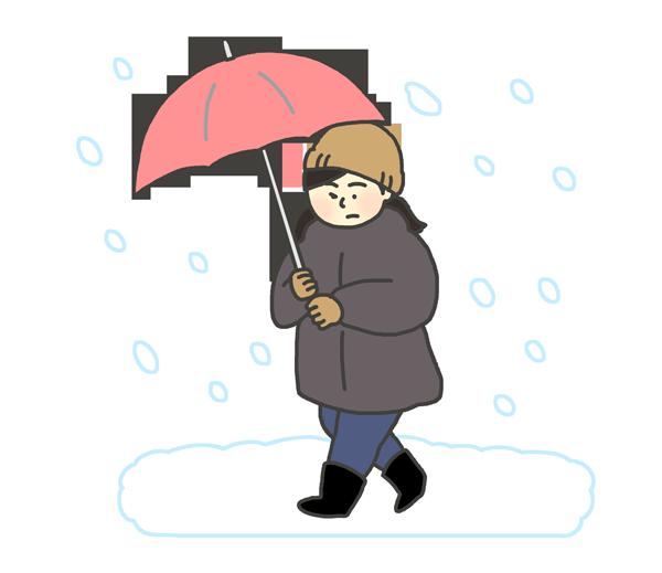 吹雪の中を歩く女性のイラスト