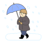 吹雪の中を歩く男性のイラスト