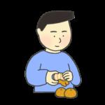 みかんの皮むきのイラスト(男性)