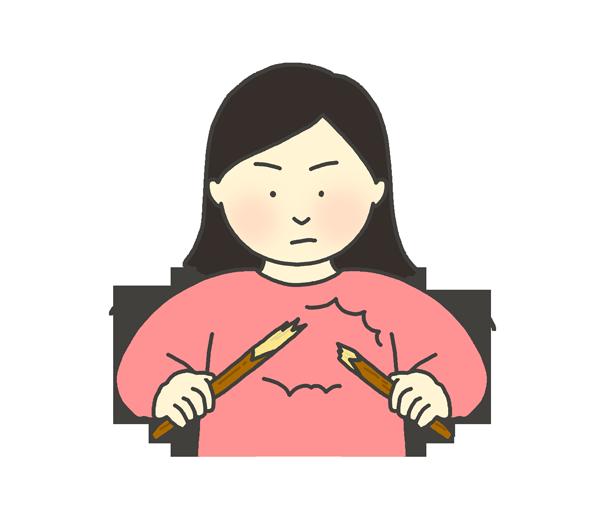 木の棒を折る女性のイラスト