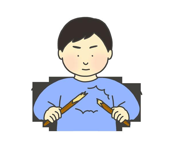 木の棒を折る男性のイラスト