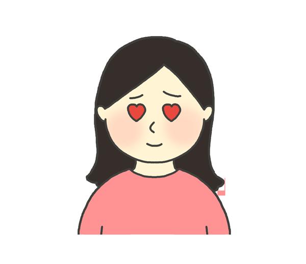目がハートになっている女性のイラスト