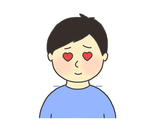 目がハートになっている男性のイラスト