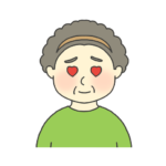 目がハートになっているおばさんのイラスト