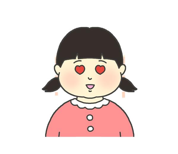 目がハートになっている女の子のイラスト