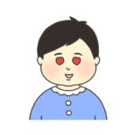 目がハートになっている男の子のイラスト