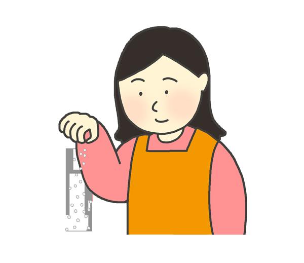 塩を振りかける女性のイラスト