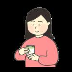 お茶を飲む女性のイラスト